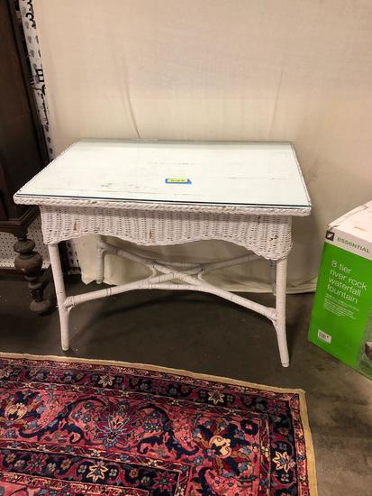 White wicker Table with Glass Top