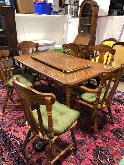 Dining room table with six chairs with insert