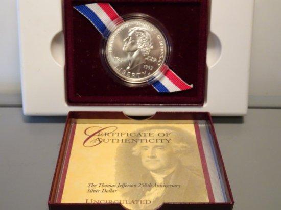 THE THOMAS JEFFERSON 250TH ANNIV SILVER DOLLAR UNCIRCULATED 1743 1993