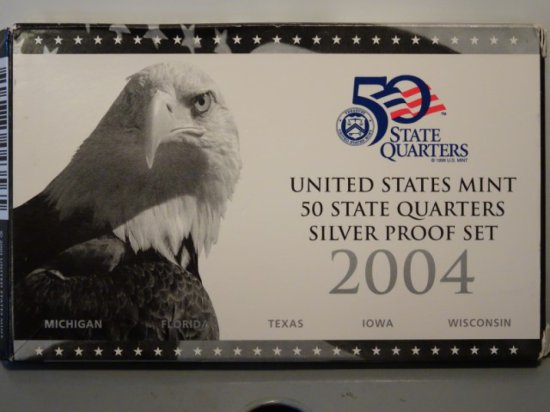 2004 UNITED STATES MINT 50 STATES QUARTERS SILVER PROOF SET MICHIGAN FLORID