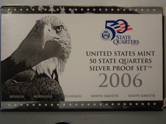 2006 UNITED STATES MINT 50 STATES MINT SILVER PROOF SET NEVADA NEBRASKA COL