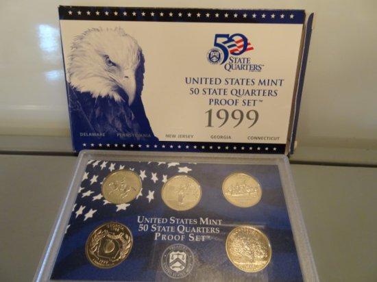 1999 UNITED STATES MINT 50 STATES MINT QUARTER PROOF SET DELAWARE PENNSYLVA