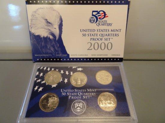 2000 UNITED STATES MINT 50 STATES MINT 50 STATE QUARTERS PROOF SET MASSACHU