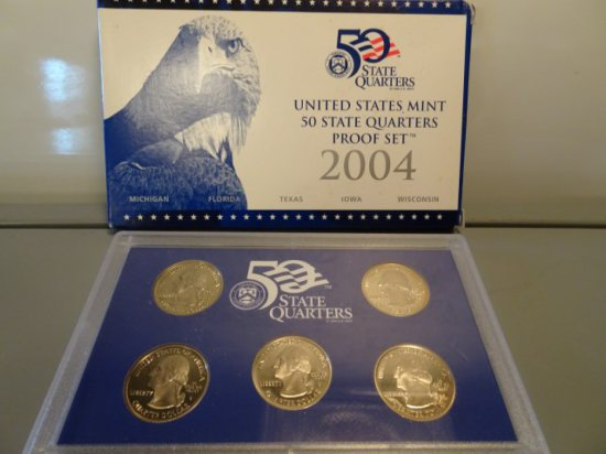 2004 UNITED STATES MINT 50 STATES QUARTERS PROOF SET MICHIGAN FLORIDA TEXAS