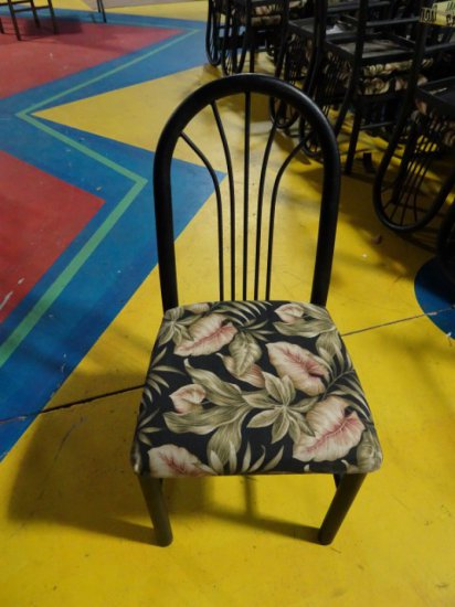 22 MTS SIDE CHAIRS BLACK FINISH WITH TROPICAL UPHOLSTERED SEATS