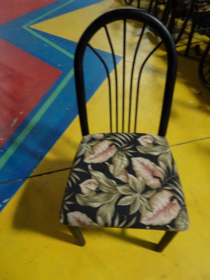 20 MTS SIDE CHAIRS BLACK FINISH WITH TROPICAL UPHOLSTERED SEATS
