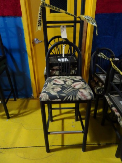 3 MTS BAR STOOLS BLACK FINISH WITH TROPICAL UPHOLSTERED SEATS