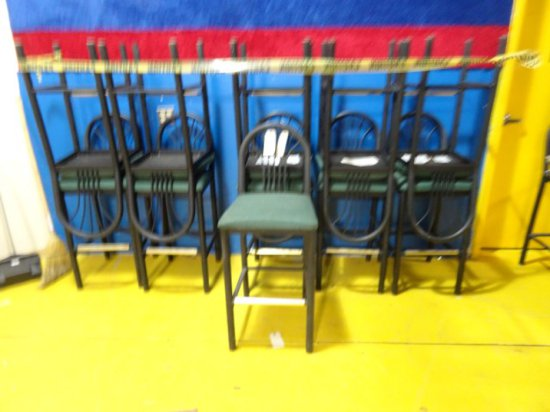 11 MTS BAR STOOLS BLACK FINISH WITH GREEN UPHOLSTERED SEATS