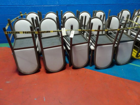 20 METAL SIDE CHAIRS DARK TAN METAL SIDE CHAIRS WITH TAUPE UPHOLSTERED SEAT