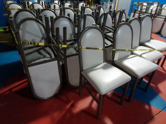25 METAL SIDE CHAIRS DARK TAN METAL WITH TAUPE UPHOLSTERED SEATS