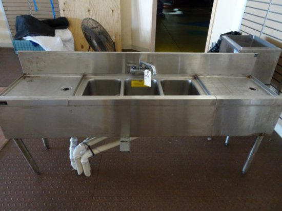 """PERLICK 72"""" BAR SINK WITH 2 WASH BOARDS"""