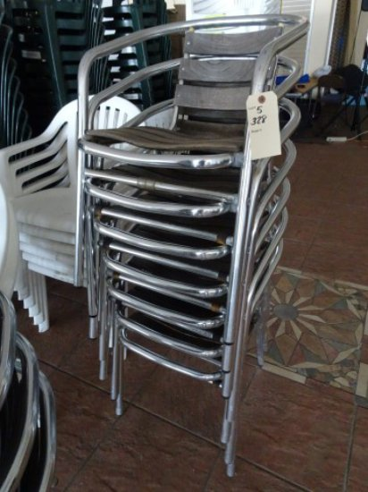 7 POLISHED ALUM CHAIRS WITH TEAK BACKS AND SEATS