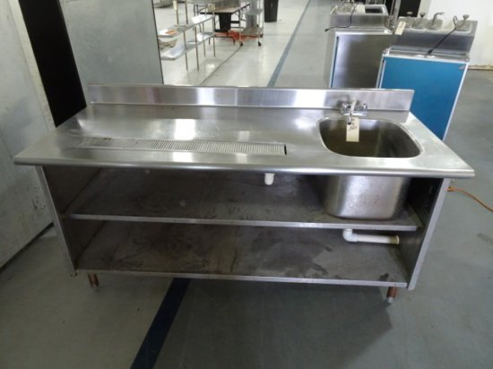 """72"""" EAGLE CUSTOM TABLE WITH SINK AND 2 SHELVES"""