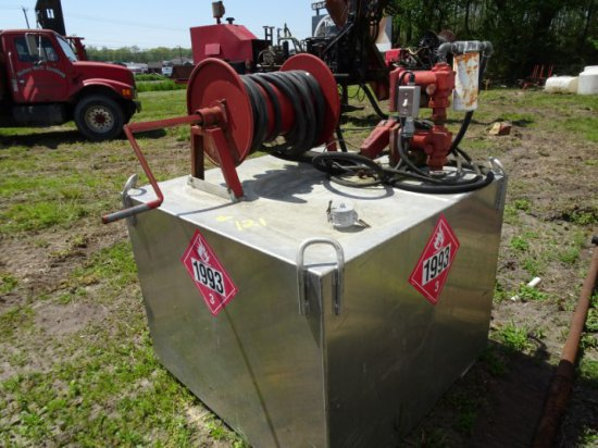 ALUM GAL FUEL TANK WITH 12 VOLT PUMP 15 GPM AND HOSE REEL AND LIFT EYES