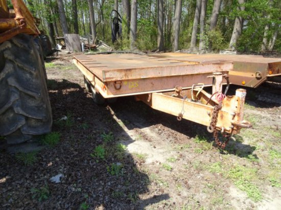 1974 MILLER TILT TRAILER APPROX 24' WITH 18' DIAMOND PLATE DECK AND TANDEM
