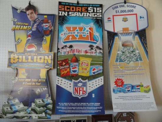 THREE PEPSI CARDBOARD ADVERTISEMENTS INCLUDING JEFF GORDAN AND SUPER XL1 AP