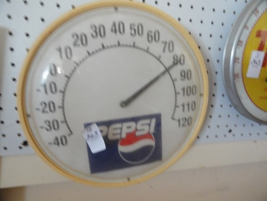 """ROUND PEPSI THERMOMETER APPROX 14"""""""