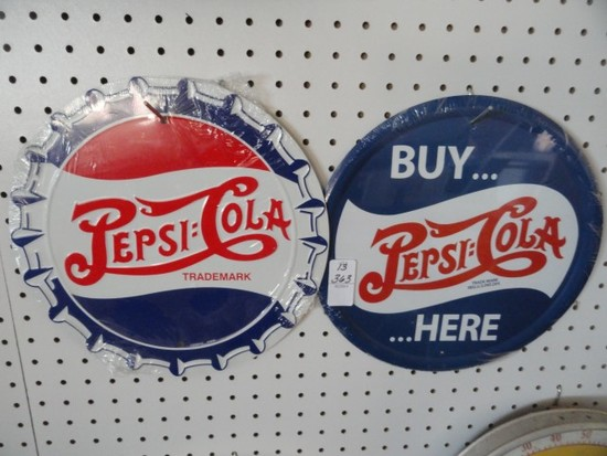 """TWO REPRODUCTION PEPSI SIGNS APPROX 12"""" EACH"""