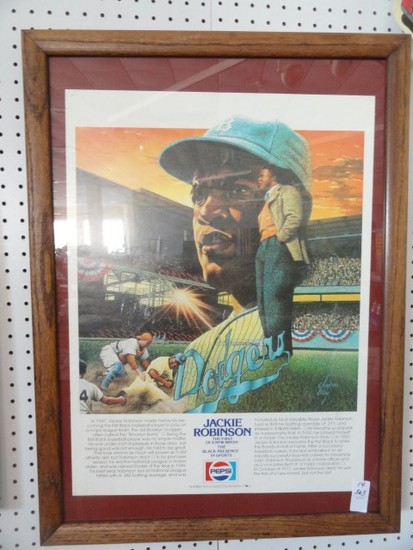 JACKIE ROBINSON FIRST OF NEW BREED FRAMED POSTER #4 IN SERIES FROM PEPSI CO