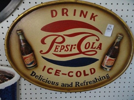 REPRODUCTION PEPSI SIGN APPROX 23 X 16