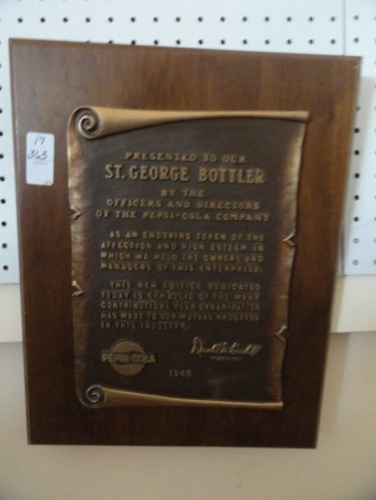 PLAQUE PRESENTED TO ST GEORGE BOTTLER BY PEPSI COLA 1965