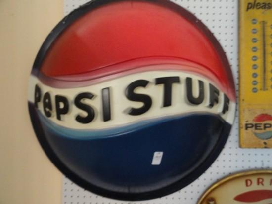 "ROUND PLASTIC PEPSI STUFF SIGN APPROX 32"" ACROSS"