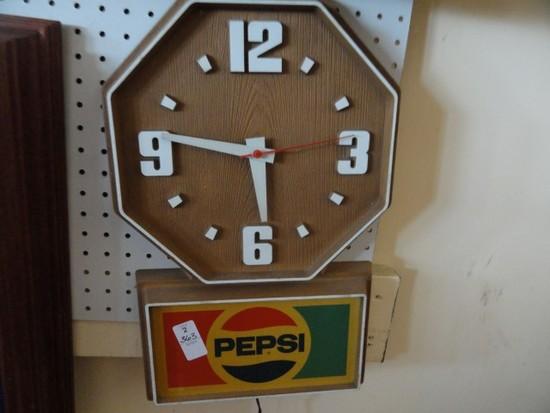 "PEPSI CLOCK OCTOGON SHAPE APPROX 20"" TALL"