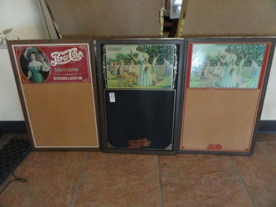 PEPSI COLA CHALK BOARD AND TWO PEPSI COLA TACK BOARDS EACH APPROX 26 X 18