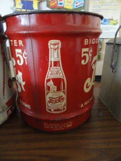 """APPROX 5 GALLON PEPSI COLA BUCKET WITH 5 CENT ADVERTISING APPROX 16"""" X 15"""""""