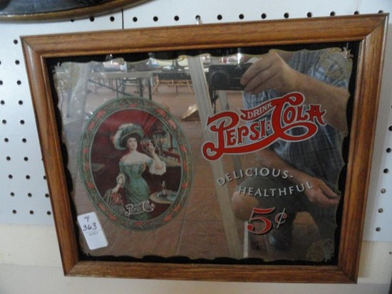 REPRODUCTION PEPSI COLA ADVERTISING SIGN APPROX 15 X 12