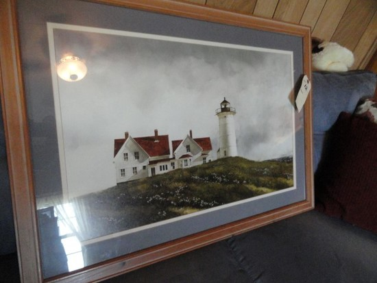 LIGHTHOUSE PRINT APPROX 34 X 24 IN FRAME