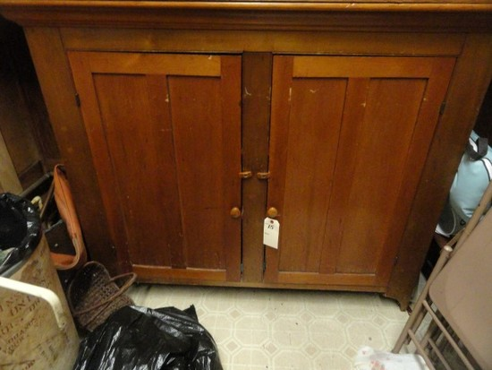 ANTIQUE JELLY CUPBOARD AND CONTENTS APPROX 57 X 46 X 12