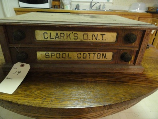 SMALL SPOOL CABINET CLARKS ONT SPOOL COTTON APPROX 22 X 15 X 7