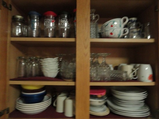 TWO CABINETS FULL OF EVERY DAY CHINA AND TUMBLERS AND BLUE WILLOW COFFEE CU