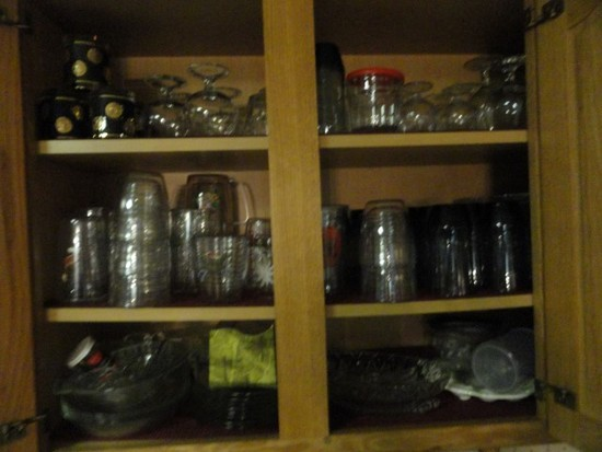 DOUBLE CABINET FULL OF STEMWARE TUMBLERS AND EVERYDAY CHINA