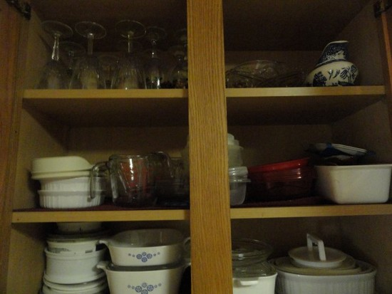 DOUBLE CABINET FULL OF CORNING WARE STEMWARE MEASURING CUPS AND MORE