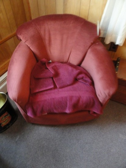 BURGUNDY ROCKING ARM CHAIR