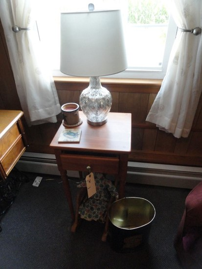 SMALL PINE END TABLE ONE DRAWER WITH LAMP AND PORCELAIN FACE DOLL IN ROCKIN