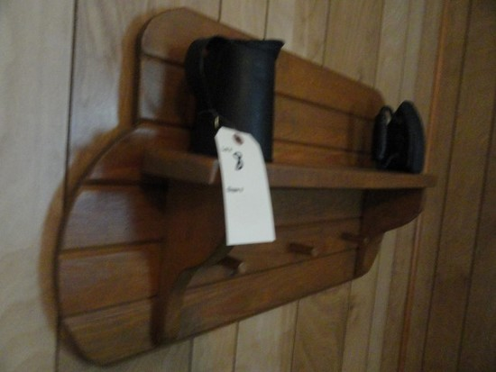 WALL MOUNTED SHELF WITH ANTIQUE IRON AND TIN PITCHER