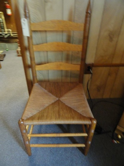 LARGE LADDER BACK RUSH BOTTOM CHAIR