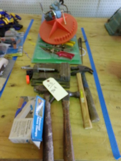 TABLE LOT TO INCLUDE HAMMERS CLAMPS AVIATION SNIPS STEEL WOOL AND MORE