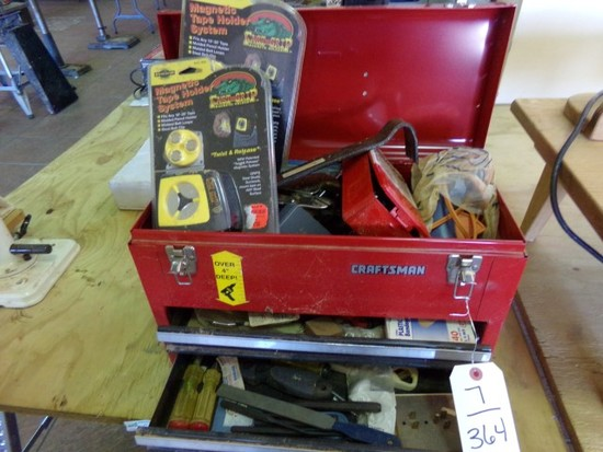 CRAFTSMAN TOOL BOX FULL OF TOOLS TO INCLUDE DRILL BITS VISE GRIPS PIPE WREN