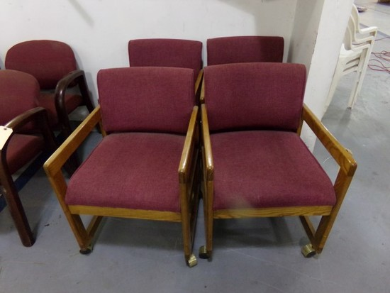 SET OF FOUR CHAIRS ON WHEELS