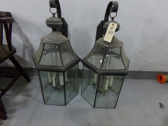 TWO WALL MOUNTED LIGHT FIXTURES WITH BEVELED GLASS AND 6 ELECTRIC CANDLE LI