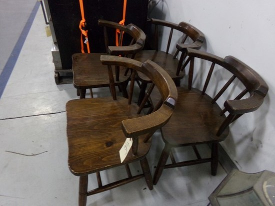 FOUR WOODEN CAPTAINS CHAIRS
