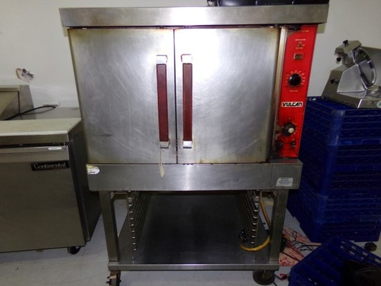 VULCAN ELECTRIC CONVECTION OVEN ON STAINLESS STEEL STAND ON CASTERS