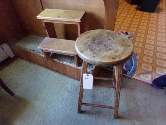WOODEN STEP STOOL AND BAR STOOL