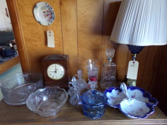 CONTENTS ON TOP OF CHEST TO INCLUDE BISCUIT JAR PRESSED GLASS CANDY DISH VI