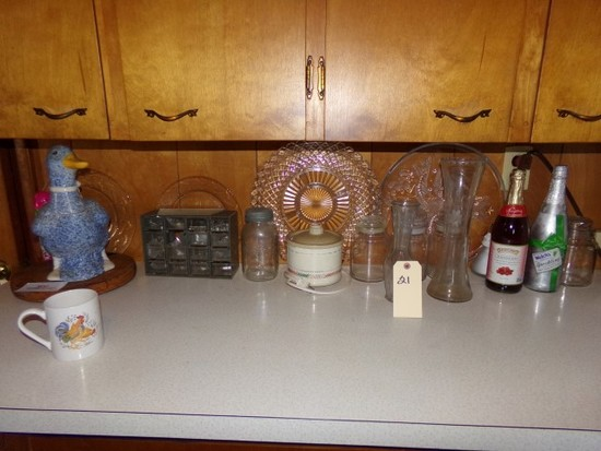 BACK KITCHEN COUNTER CONTENTS TO INCLUDE JARS CANISTERS SERVING PLATTERS AN