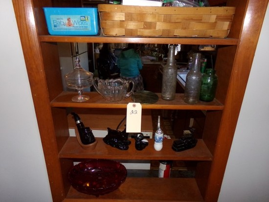 CONTENTS OF SHELVES TO INCLUDE CRANBERRY FOOTED BOWL AVON PIECES SODA BOTTL
